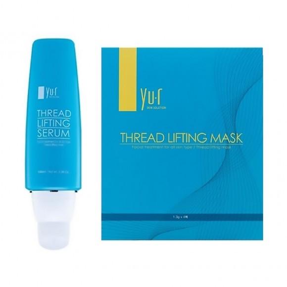 Нитевая лифтинг маска и сыворотка в наборе THREAD LIFTING MASK & SERUM YU.R (10 масок + гель 100 мл)