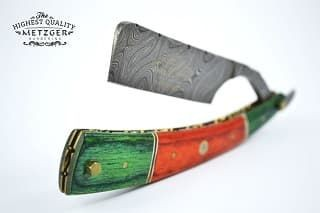 Опасная бритва DR-14350 (Orange/Green wood, Damascus steel)