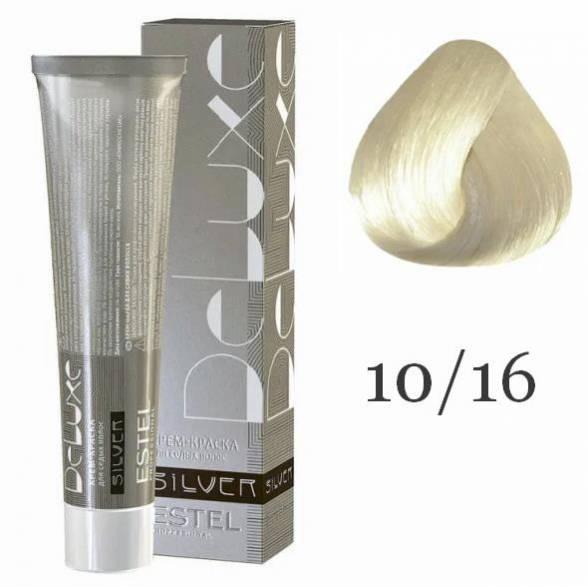 Estel. 10/16 Крем-краска De Luxe Silver, Светлый блондин пепельно-фиолетовый