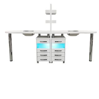 Стол для маникюра двухместный с УФ-блоками и вытяжками
