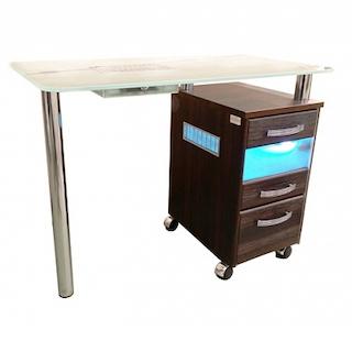 Стол маникюрный с 1 тумбой, со стеклянной столешницей, УФ-блоком и вытяжкой