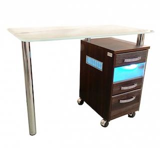 Стол маникюрный с 1 тумбой, со стеклянной столешницей и УФ-блоком