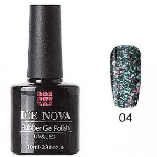 Гель-лак ICE NOVA Павлиний хвост графитово-фиолетовый 04