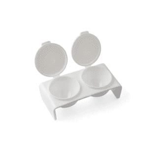 Пластиковый контейнер двухсекционный с крышкой (белый)